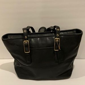 Vintage  Leather Coach  Black Tote Bag.